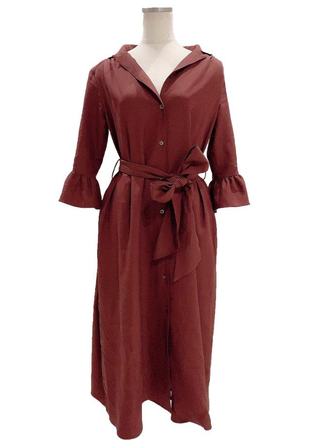 【selva secreta】SHIRTS DRESS(bordeaux-brown)