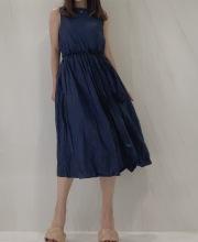【selva secreta】Linen Wrinkled Dress (navy)
