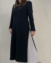 【selva secreta】Side Pleats DRESS(black)