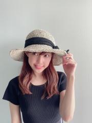 【selva secreta】RIBBON HAT(white-beige×chiffon-black ribbon)