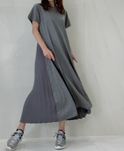 【selva secreta】Pleats Tshirt one-piece(gray)
