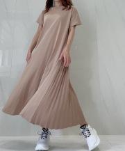 【selva secreta】Pleats Tshirt one-piece(beige)