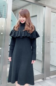 【selva secreta】FRILL KNIT DRESS(black)