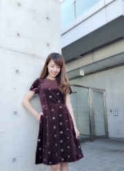 【selva secreta】Flower Velour DRESS(wine-red)
