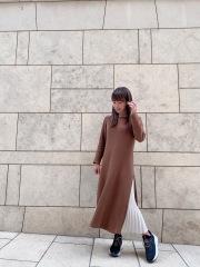 【selva secreta】Side Pleats DRESS(brown)