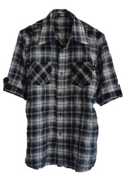 【ANTIMINSS】 CHECK SHORT SLEEVED SHIRT (black)