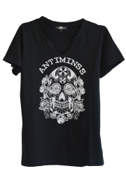 【ANTIMINSS】MEXICAN SKULL T-SHIRT (V-neck)