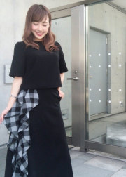 【selva secreta】RUFFLE CHECK SKIRT (black)