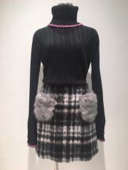 【selva secreta】FAKE FAR SKIRT(black)