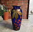 A5006 フランスアンティーク・ブルーガラス手描き柄花器・花瓶