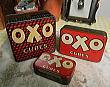 K1039 イギリスアンティークブリキ缶(OXO缶)・3個セット