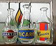C1048 フランスアンティーク・ガラスボトル・トリオ(MARTINI RICARD Casanis)