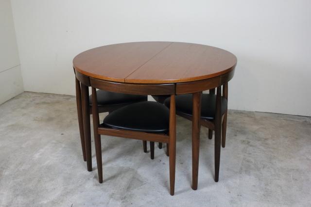 デンマーク ハンスオルセン 3本脚 ダイニングセット Frem Rojle エクステンションダイニングテーブル