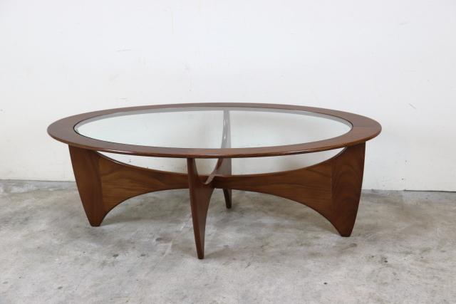 g-plan ジープラン ガラストップコーヒーテーブル 楕円 オーバル チーク ヴィンテージ