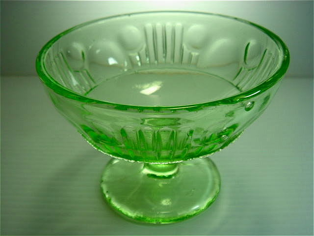 昭和レトロ プレスガラス グリーン氷コップ [AJ0089B]