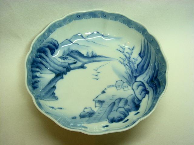 山水染付 ナマス皿 中鉢【AJ0561】