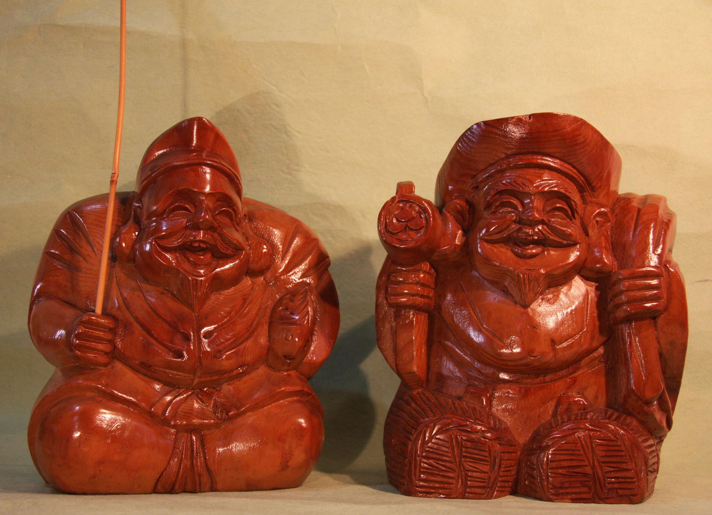 木彫りの恵比寿様と大黒様 日本製 【AJ1100】