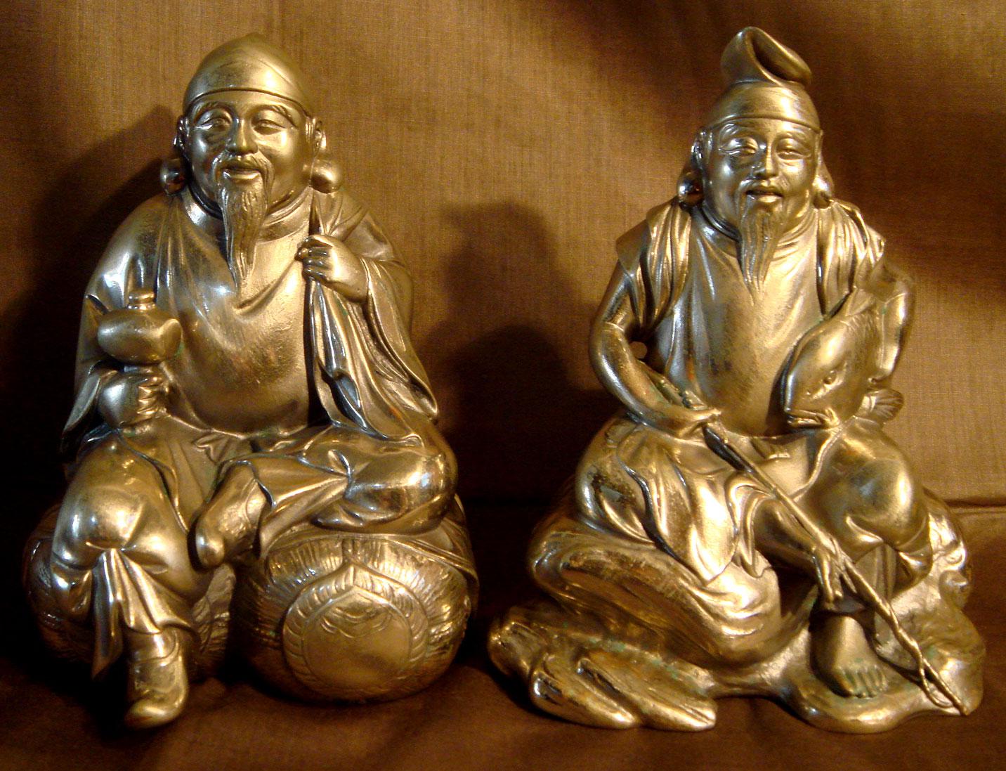 貴重☆恵比寿様と大黒様 14.0cm 当時 洋銀と刻印有 日本製 現状 【AJ1105】