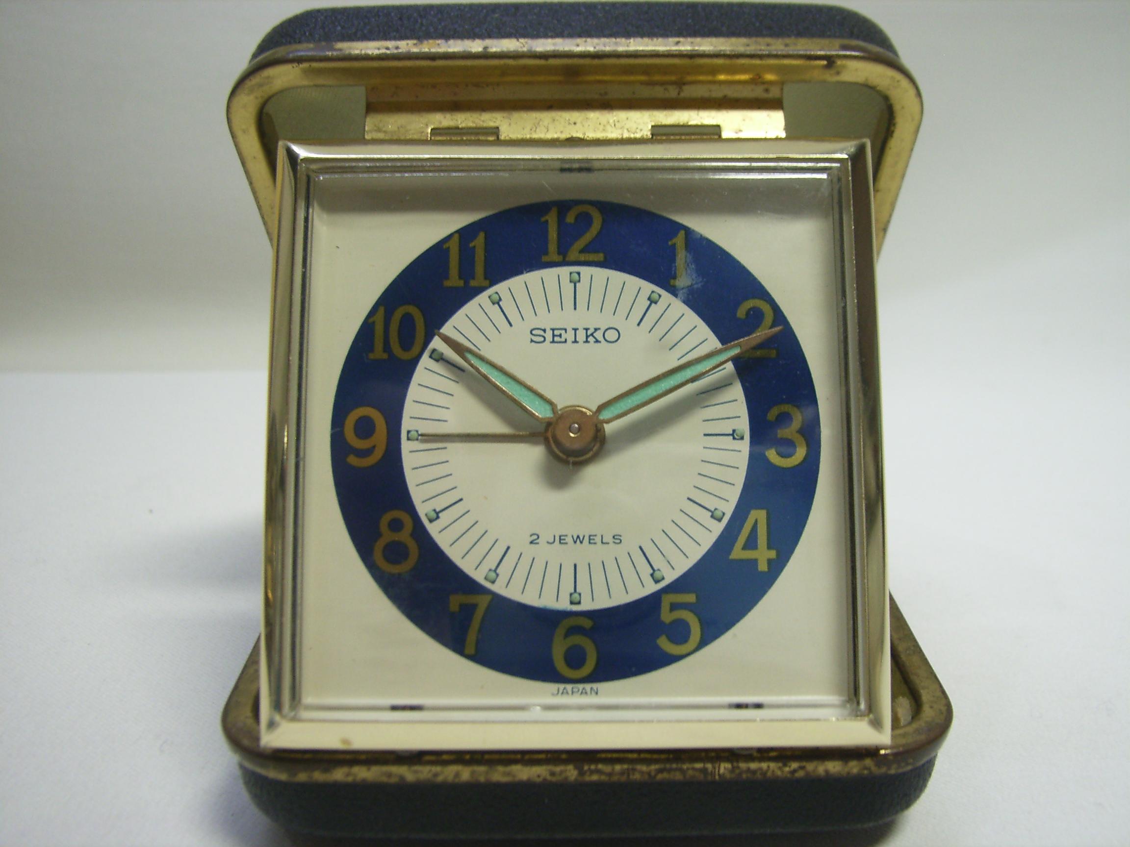 セイコー トラベルアラーム時計 手巻き 黒 動作確認済み 現状 【AJ1124】