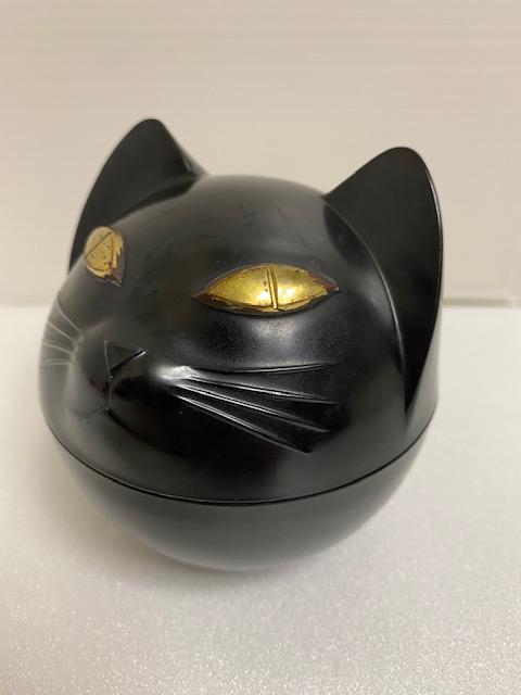 榮太樓☆栄太楼 黒猫 容器 貯金箱 9.0cm 当時物 企業物 現状 黒ネコ 【AT1073】
