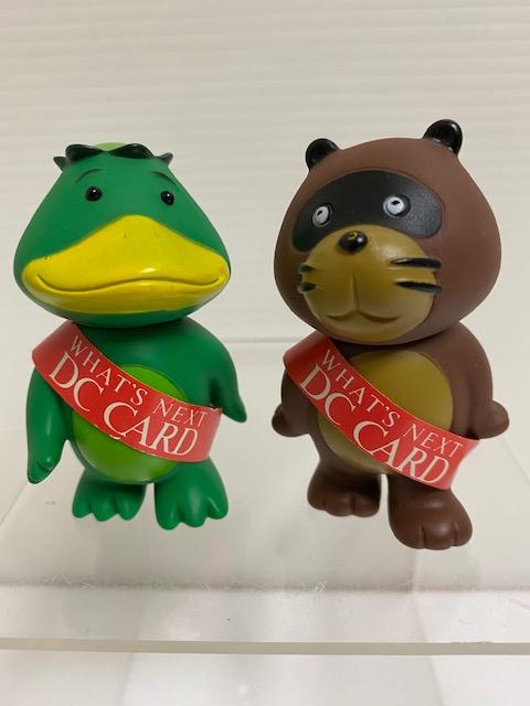 2体セット☆DC CARD カード キャラクター カッパ・たぬき ソフビ人形 7.2cm 当時物 企業物 非売品 現状 【AT1106】