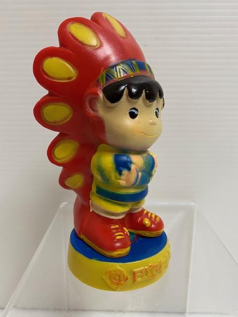 日立☆キドカラー☆キド坊や☆インディアン☆ソフビ人形☆貯金箱 13.5cm 当時物 企業物 非売品 現状 【AT1157】