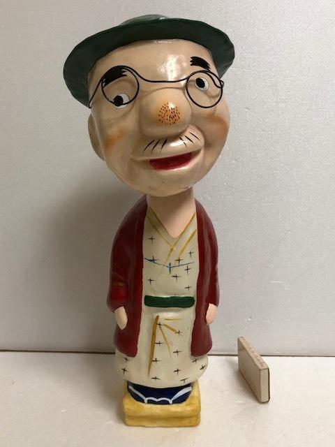 戦前漫画 のんきな父さん ノンキナトウサン 首ふり ソフビ人形 大型 高さ 33.3cm 555g マスコミ玩具 現状 詳細不明 【AT138】