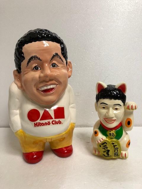 北野武 ビートたけし 陶器製 人形 貯金箱 大 23.5cm 430g 当時物 Kitano Club 版権有 現状 【AT193】
