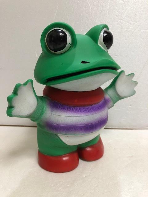 ツクダ ケロヨン 手踊り ソフビ人形 16.0cm 当時物 木馬座 JAPAN製 版権有 現状 【AT247】