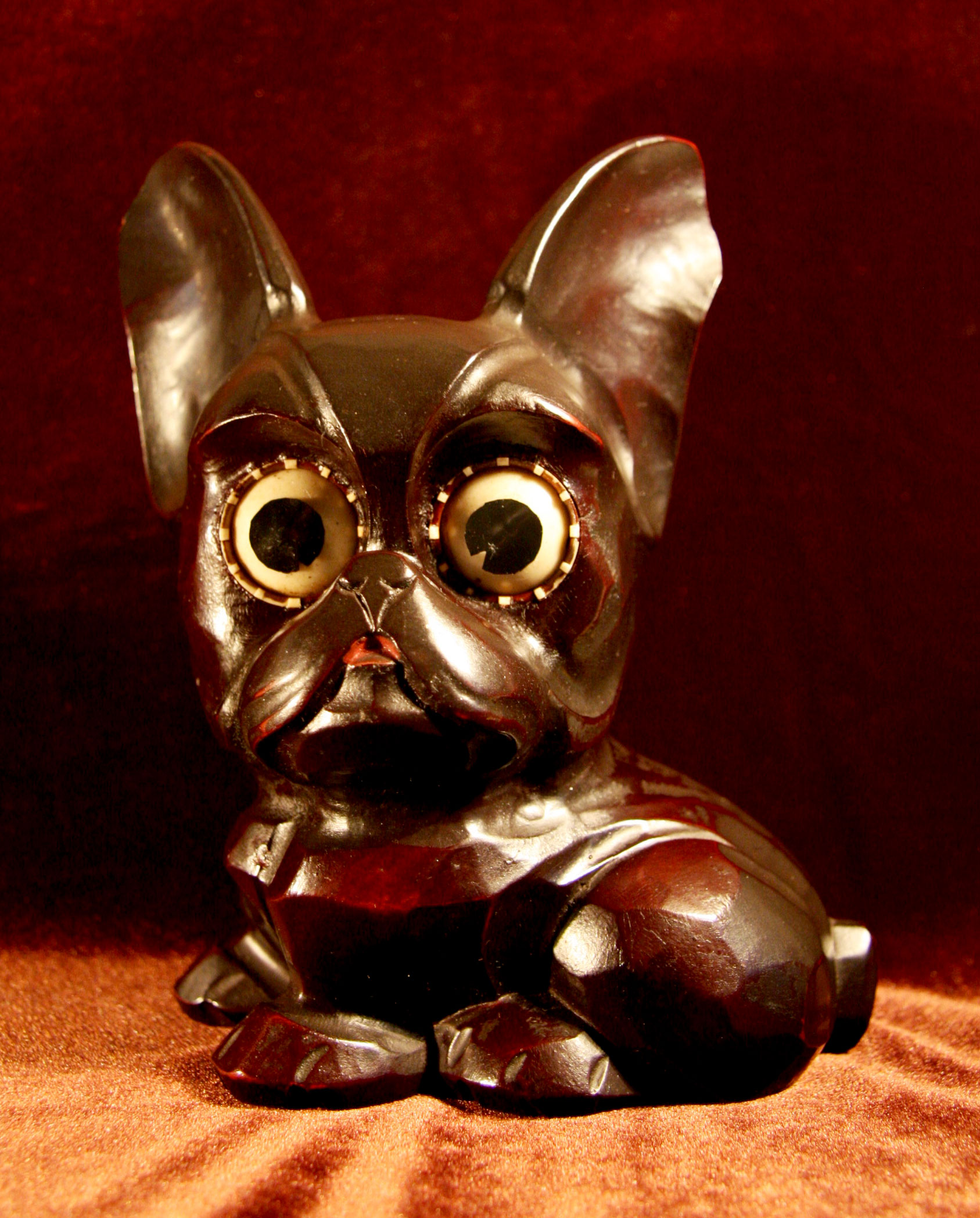 フレンチブルドック(?)時計 ドイツ製 1940年代 目玉が時計 置時計 犬 【AW1007】