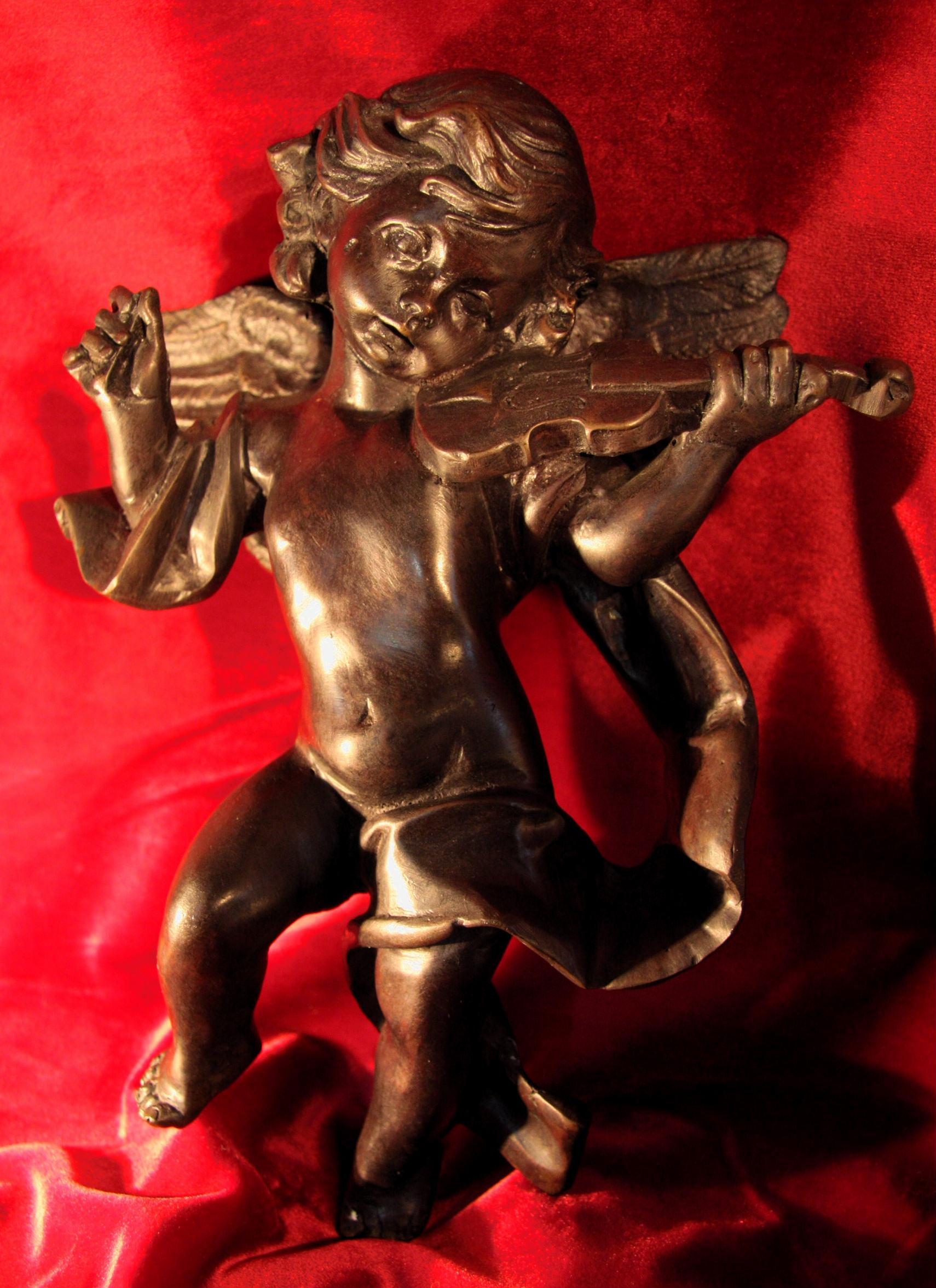 ブロンズ天使の女の子 バイオリン 現状販売 【AW1013】