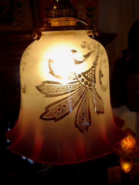 アンティーク ヴィクトリアン クランベリーピンク ランプシェード【AWG0089】