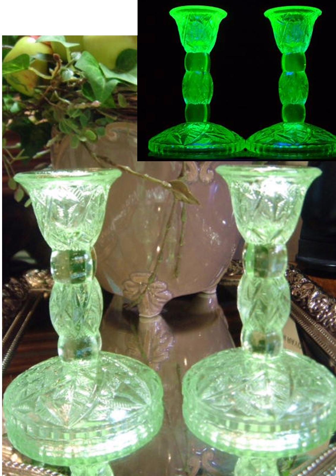 アメリカ ヴィンテージ グリーンのカットガラス ウランガラスのキャンドルスタンド セット♪ 【AWG0186】