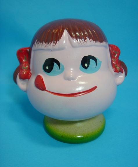 貴重☆時代有 不二家 ペコちゃん 陶器製 人形 貯金箱 11.5cm 290g 当時物 手塗 現状 【TO1337】