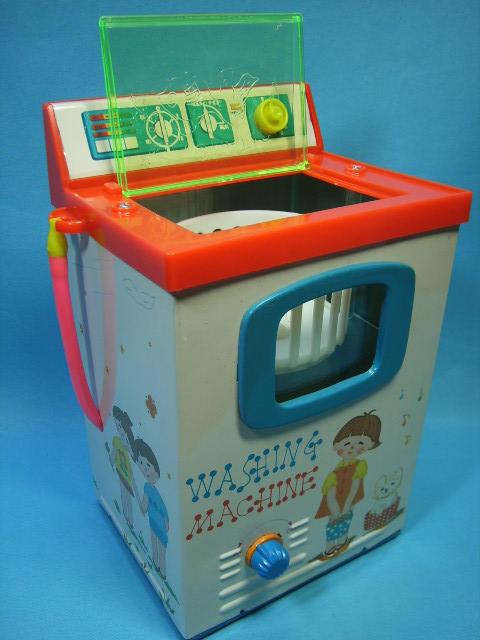 箱入☆ヨネザワ 米沢玩具 洗濯機 ブリキ製 20.5cm 当時物 版権有 現状 【TO1709】