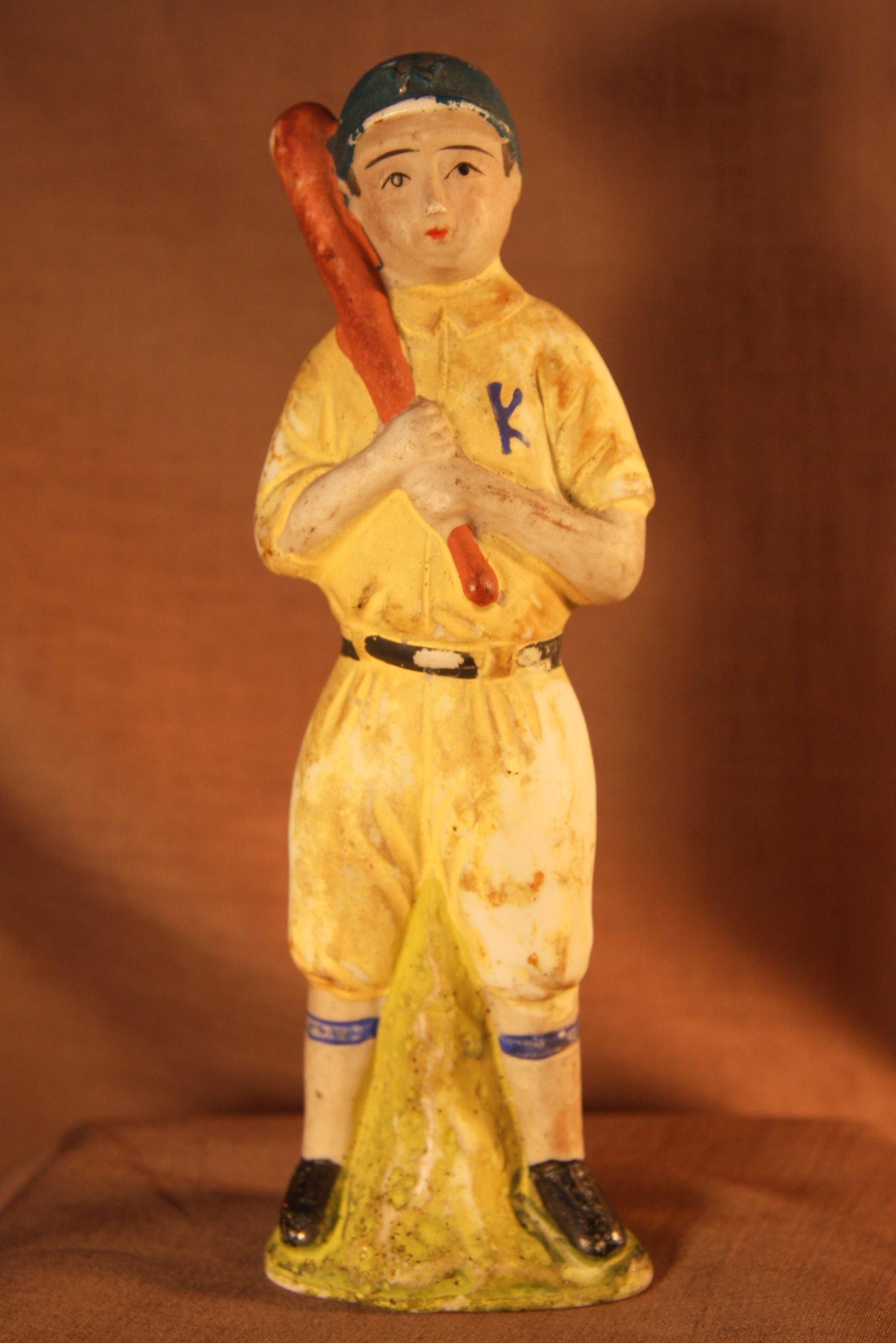 昭和初期 野球 陶器製 人形 14.5cm 90g 当時物 現状 詳細不明 【TO1936】