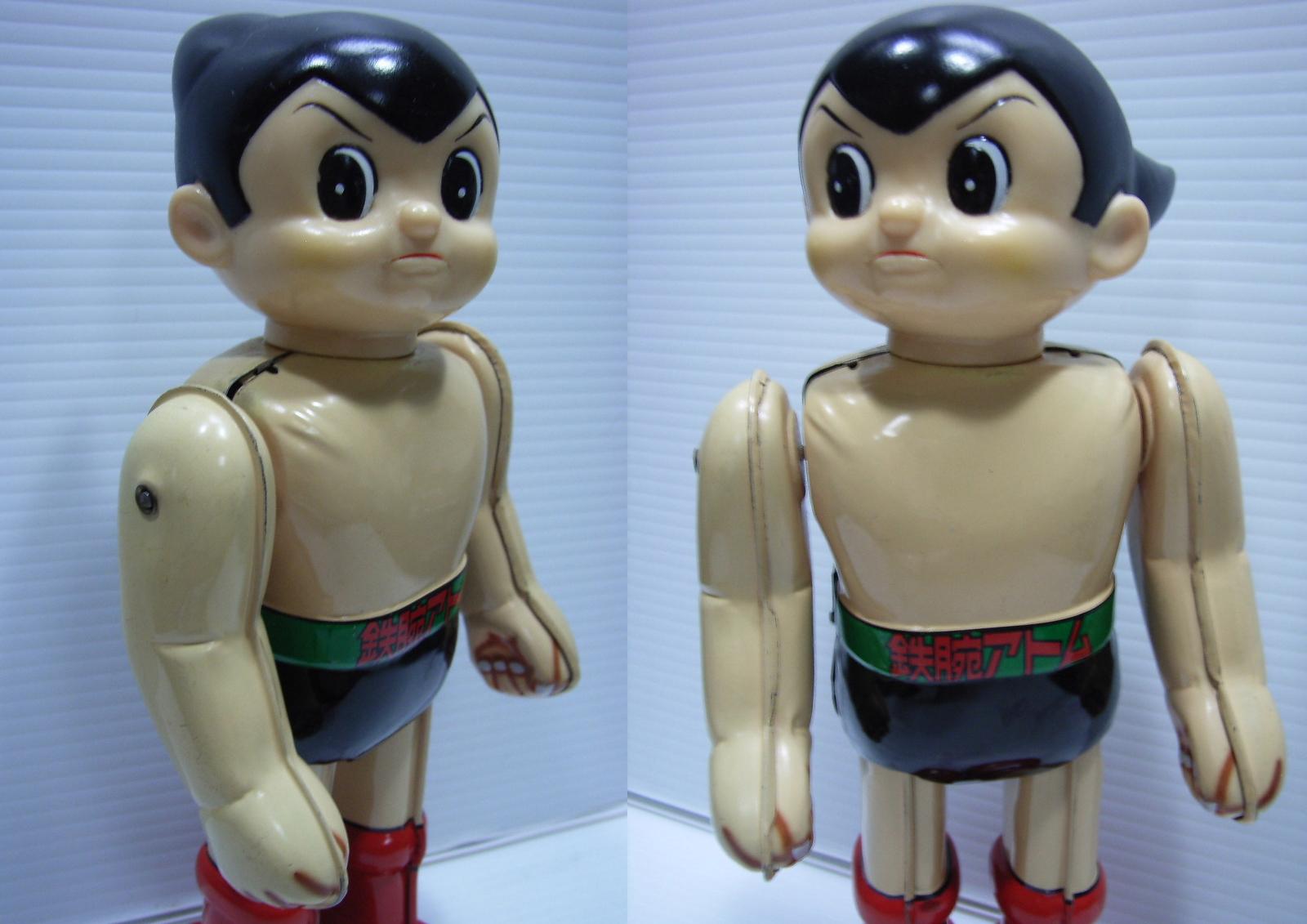 NTT サンクスフェア 鉄腕アトム ブリキ ロボット 22.4cm 当時物 顔ソフビ 動作確認済 企業物 手塚治虫 現状 【TO2976】