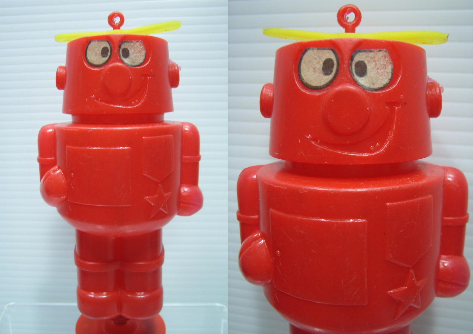珍品☆ロボタン 人形 貯金箱 赤 14.0cm 当時物 現状 詳細不明 【TO3074】