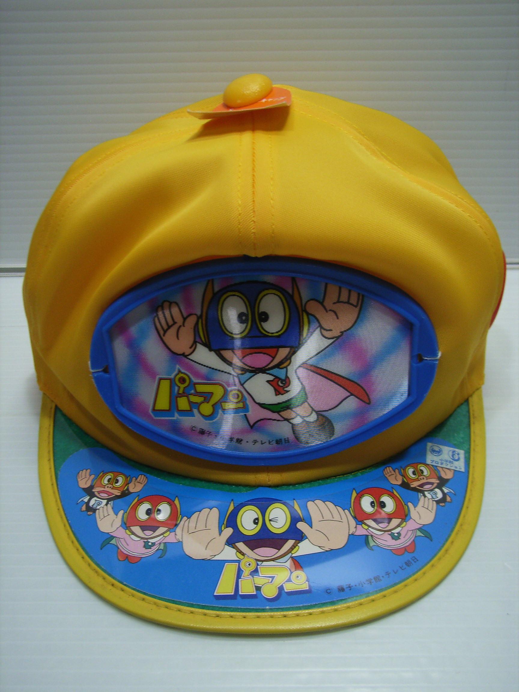 ☆青色になります☆パーマン 子供用キャップ 帽子 サイズ 53cm 当時物 バッチ付 JAPAN 現状 【TO3574】