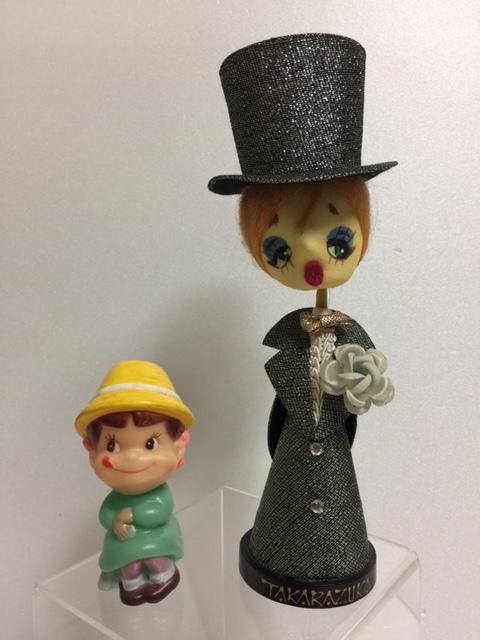 宝塚 TAKARAZUKA 人形 昭和レトロ 木台 21.0cm 当時物 現状 【TO4307】