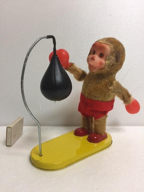 富士プレス工業所 ボクシングモンキー ブリキ製 パンチングボール ゼンマイ式 人形 18.8cm 250g 当時物 猿 JAPAN 現状 【TO4339】