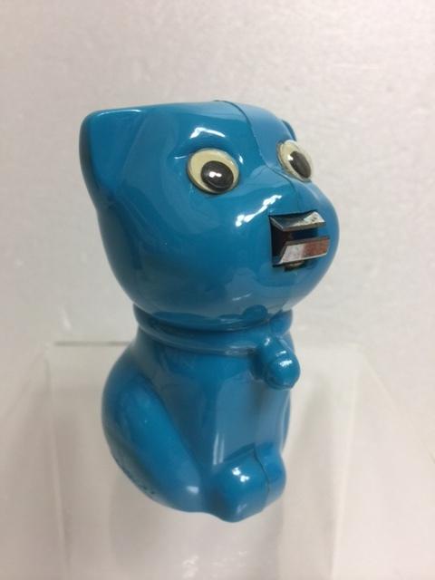 青色☆昭和レトロ☆かわいい ネコ型 爪切り 8.1cm 50g 当時物 JAPAN 現状 【TO4376】