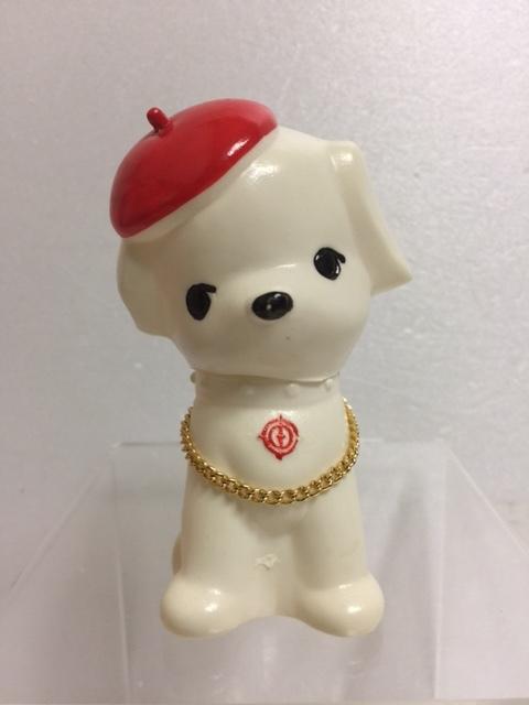 山梨中央銀行 ベレー帽 イヌ 犬 ソフビ人形 貯金箱 10.0cm 当時物 企業物 非売品 現状 【TO4403】