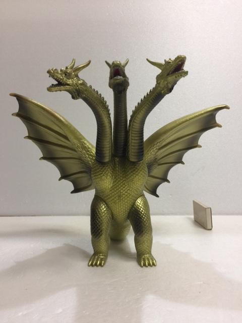 バンダイ キングギドラ ソフビ人形 35.5cm(頭〜尾) 当時物 1984年 版権有 現状 【TO4464】