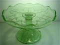 昭和レトロ プレスガラス グリーンコンポート 【AJ0107】