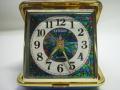 シチズン トラベルアラーム時計 手巻き 青色 動作確認済み 現状 【AJ1122】