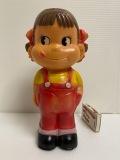不二家☆ペコちゃん☆ハードセル☆人形☆貯金箱 高さ20.3cm キャンディ入?当時物 企業物 非売品 現状 【AT1067】