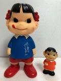 不二家 幼稚園 ペコちゃん ソフビ人形 大 22.0cm 200g 復刻版 企業物 現状 【AT120】
