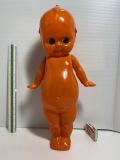 大型☆オレンジ色☆セルロイド☆キューピー 人形 40.7cm 昭和レトロ 当時物 メーカーNマーク有 JAPAN 現状 【AT1281】