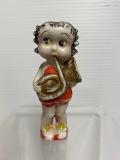 昭和レトロ☆ベティちゃん☆陶器製☆人形 8.5cm 手塗 BETTY BOOP JAPAN 版権有 現状 【AT1327】
